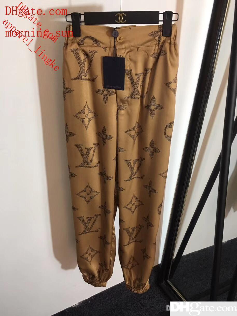 High End Women Technical Jersey Motif Printed Pants Casual Relaxed Pants Two Colors Active Runway Trousers