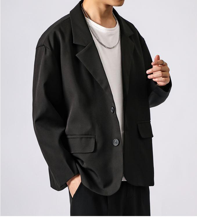2019 New Korean Men Blazer Black Oversized Blazer Masculino Yuppie Style Men Hombre