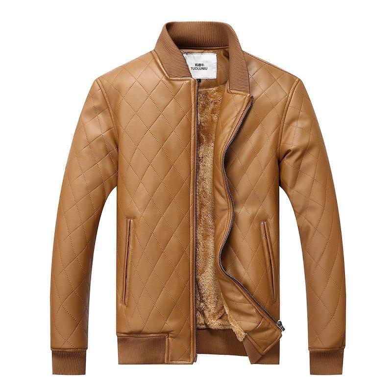 Kış Erkekler Fırçalı Ve Kalın Deri Ceket Orta yaşlı İş Casual Deri Ceket Baba Giyim Deri Ceket Kaban Plaid Üst G