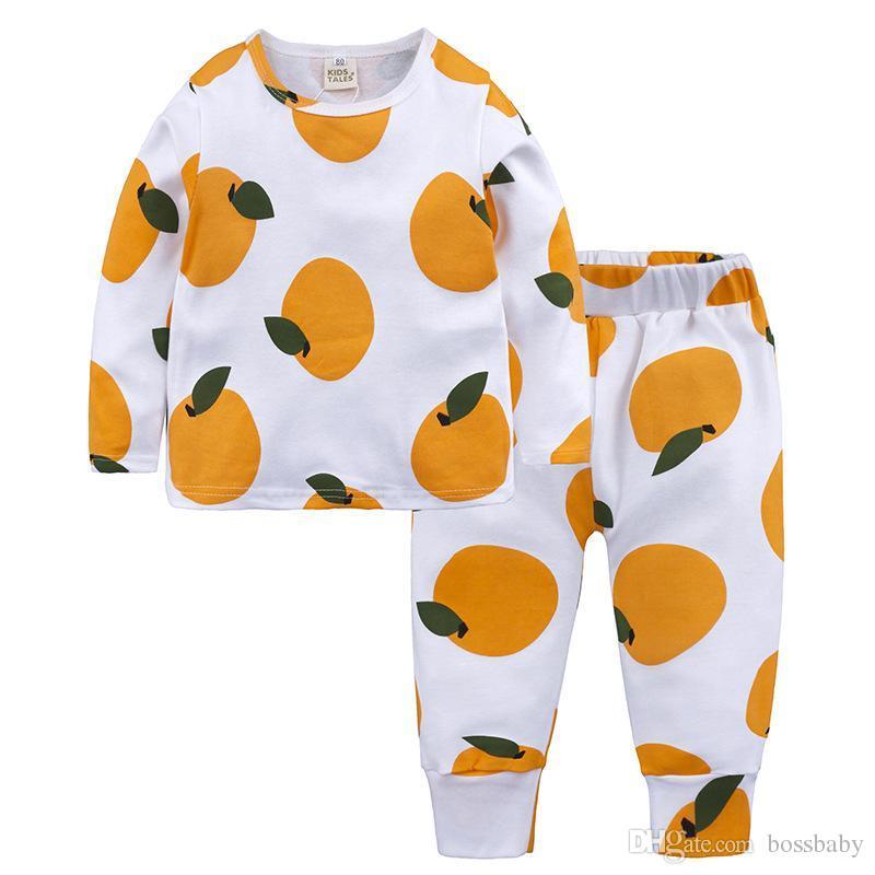 Crianças Pijamas Frutas Crianças Impresso Nightwear Crianças Roupas de Algodão para Crianças Roupas de Pajama Terno 95% Algodão para Crianças 58