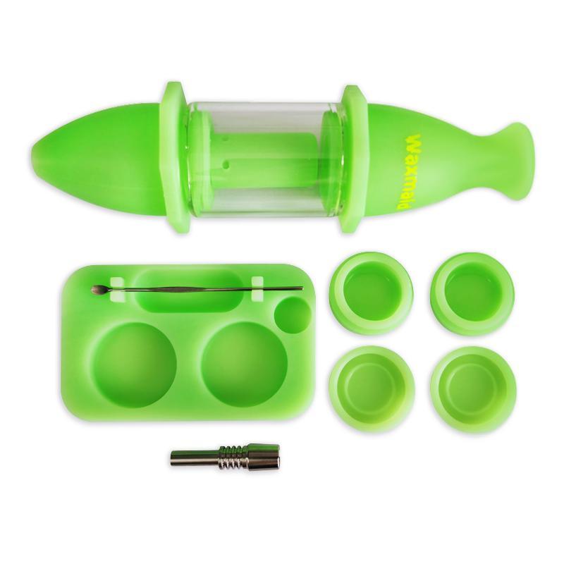 Kit di raccolta Oil Rig tubo di acqua di vetro acqua Bong Waxmaid Nettare con il silicone Contenitore Dab Package Tool al dettaglio