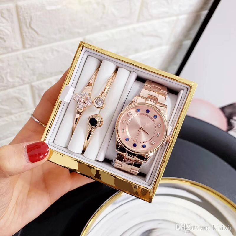 Женские часы браслет и подарочная коробка новая мода стальной браслет кварцевый механизм цвет алмаз круглый циферблат золотые часы платье ювелирные изделия банкетный аксессуар