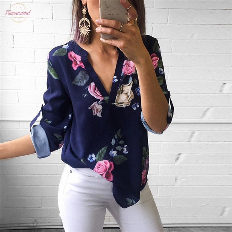 Women Blouses New 3 4 Sleeve V Neck Floral Tops Ladies Summer Casual Printing Blouse Shirt Femmes Blouses Women Costume