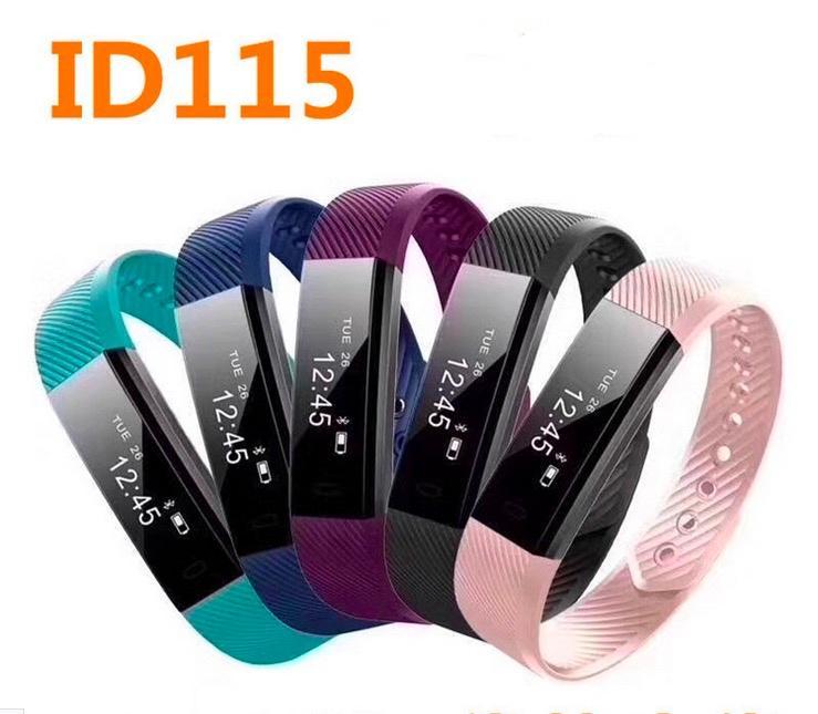 Hot ID115 Smart Bracelets Fitness Tracker Step Counter Activity Monitor Band Alarm Clock Vibration Heart rate monitoring Wristband