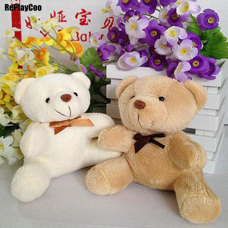 25pcs / lot Mini Teddy Bear ripiene Giocattoli di peluche 10cm decorazione del partito regalo Piccolo orso farcito Giocattoli pelucia sospensione di compleanno dei capretti 042