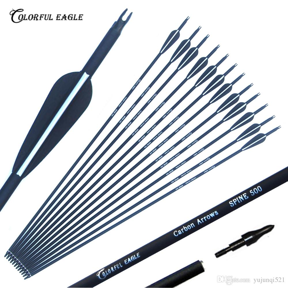 Replaceable 28/30/31 inch Spine 500 Archery Carbon Arrow for Compound & Recurve Bow Hunting and Archery Shooting Target