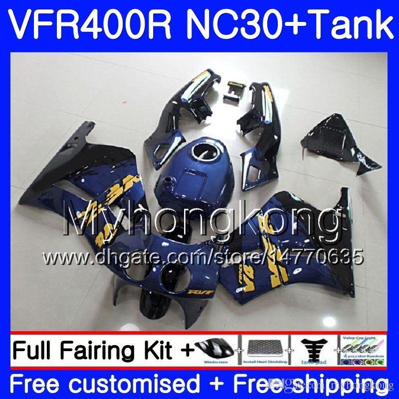 Kit para HONDA RVF400R VFR400 NC30 V4 VFR400R 89 90 91 92 93 269HM.0 RVF VFR 400 R VFR 400R 1989 1990 1991 1992 1993 Fábrica de carenado azul blk
