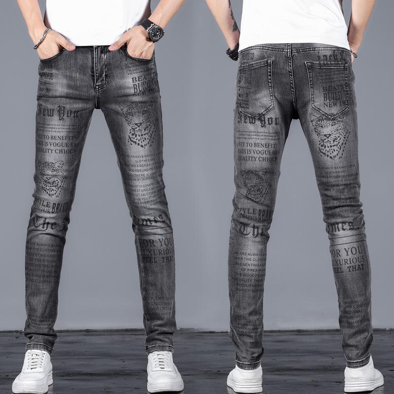 jeans stretch personalizzati pantaloni stretch uomini ciano di leggings moda stampato DLEK