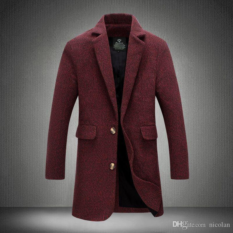 2016 New Long Trench Coat Men Fashion Style Solid Winter Autumn Overcoat Wine Red Grey Windbreak Quality Homme Trench Coat Male