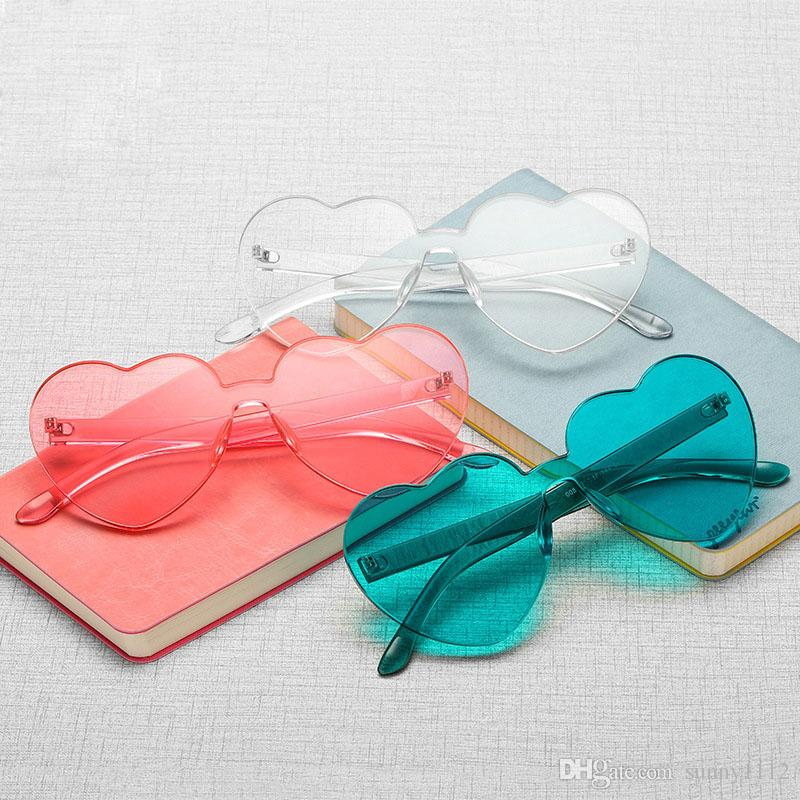candy color sunglasses heart shaped for girls frameless retro new fashion sunglasses eyewear decoration sun glasses UV400 clear lenses