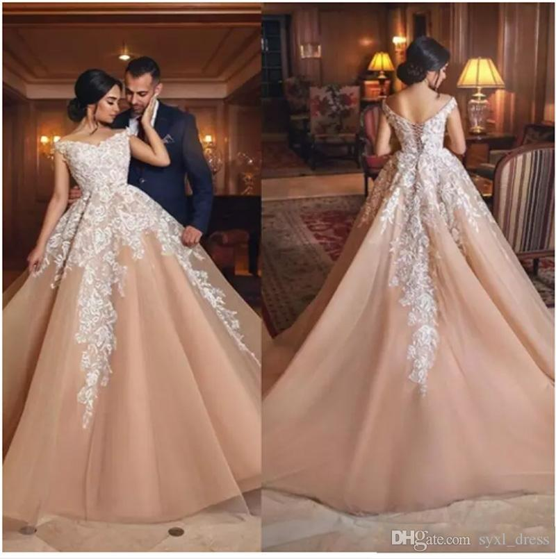 2019 Cheap Design Champagne Lace Prom Dresses Special Occasion Dress Women Formal Wears Evening Party Gowns Vestido De Novia Designer Dress Designer
