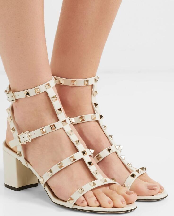 Yaz 2020 Marka Kadınlar Kaya Studs Sandalet Yüksek Topuklar Gerçek Deri Perçin Sandalet Lüks Tasarımcı Lady Gladyatör Sandalias Mujer