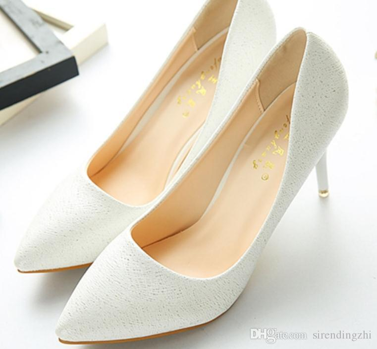 2019 Женской обувь весной и осенью с Новым стилем Высокого каблуком штрафа пятка заостренного конца пятка 4см, 6см, 9см @ 2092