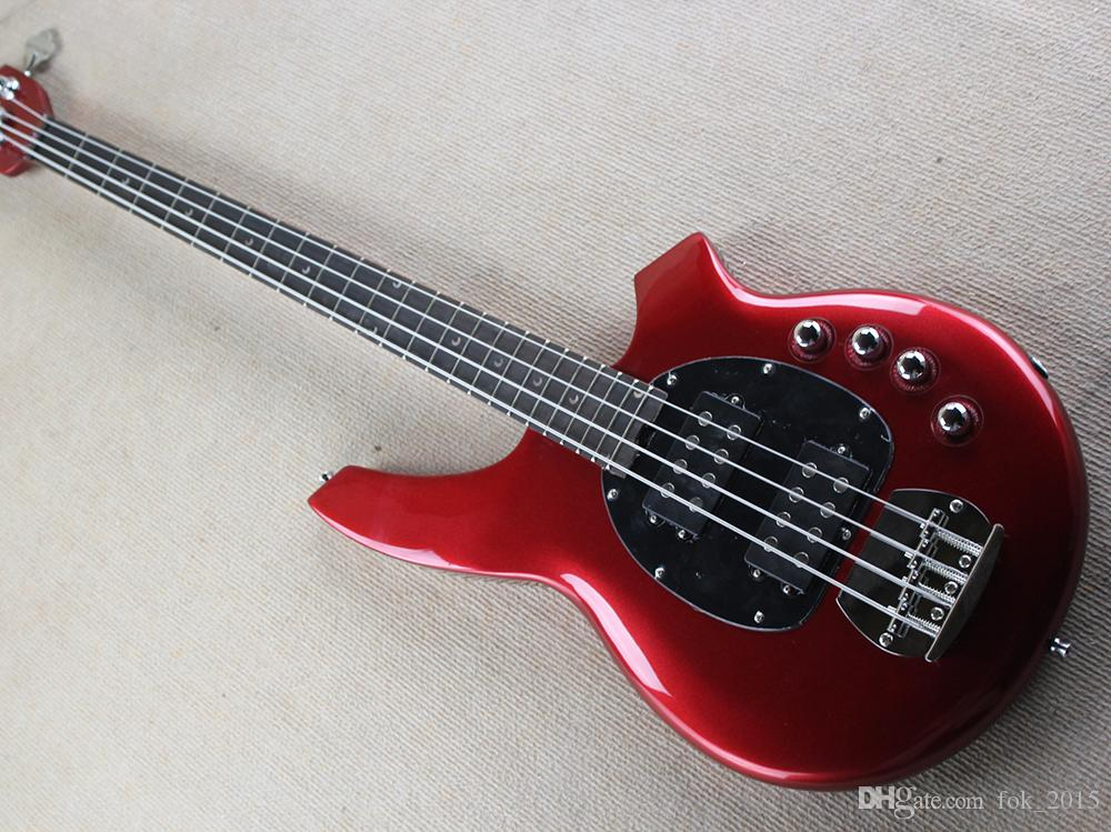 Free Shipping Factory Metal Red Electric Bass Guitar with 4 Strings,Chrome Hardware,2 Open Pickups,High Quality,Black Pickguard