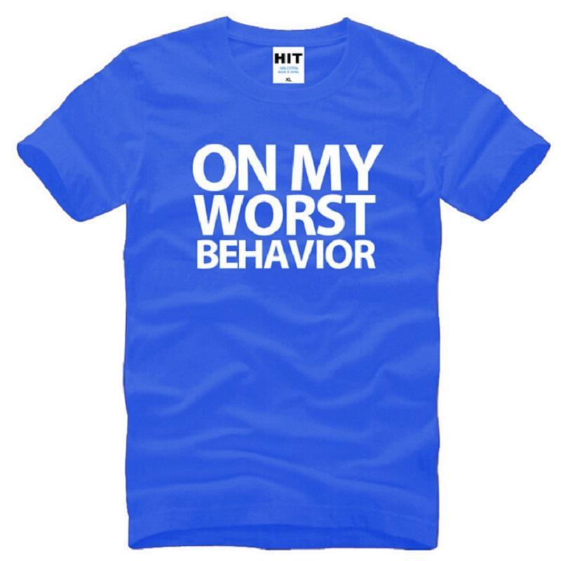 Nuevo a mi peor comportamiento Drake T Shirts Hombres algodón suelta de manga corta impresa Rap camiseta para hombre de la moda masculina Hip Hop Tee Shirts