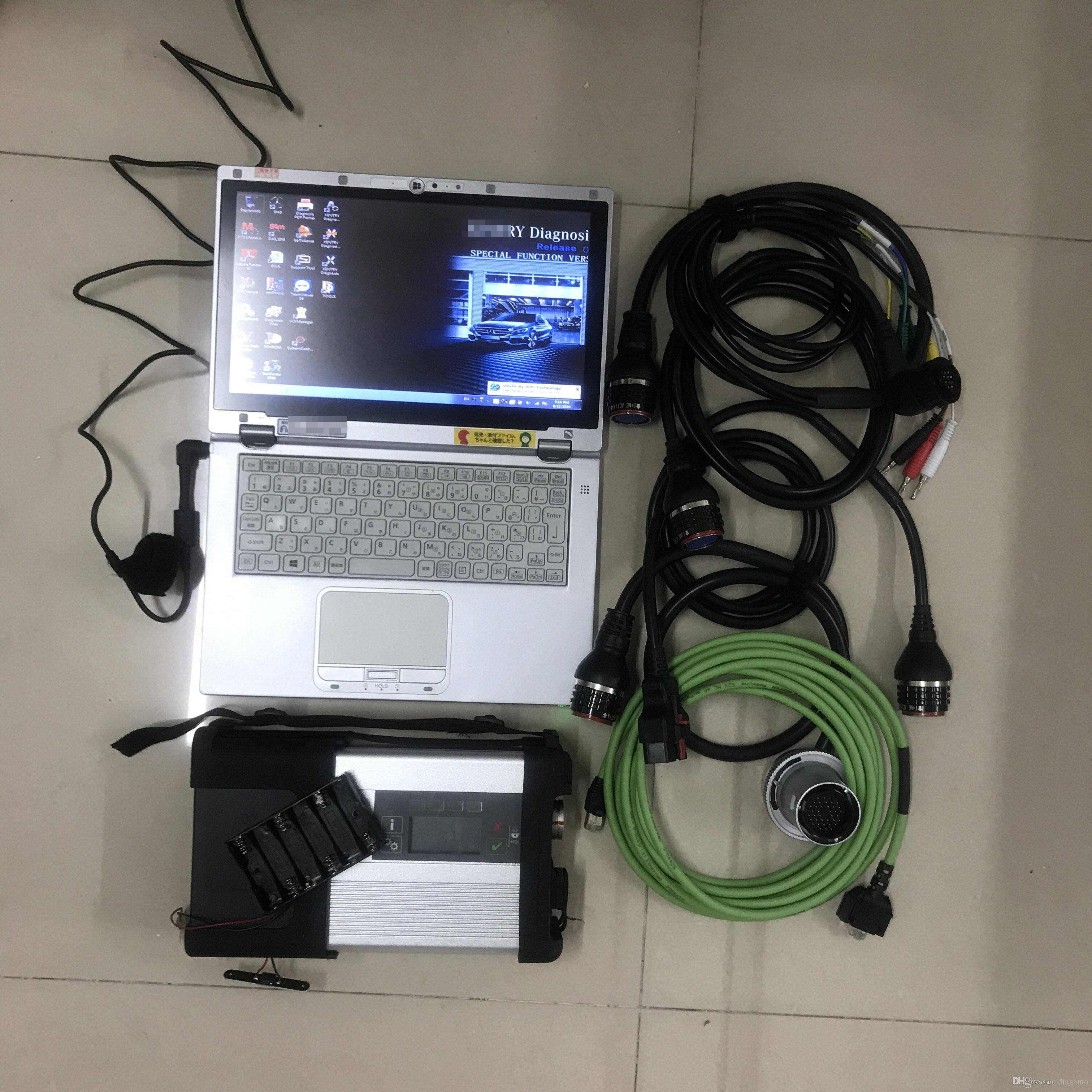 MB ستار C5 SD مضاعف C5 مع CF-AX2 480GB SSD 2021.03V X / Vediamo / DAS / DTS / EPC / HHT للأداة التشخيصية السيارات Mercdes Star C5