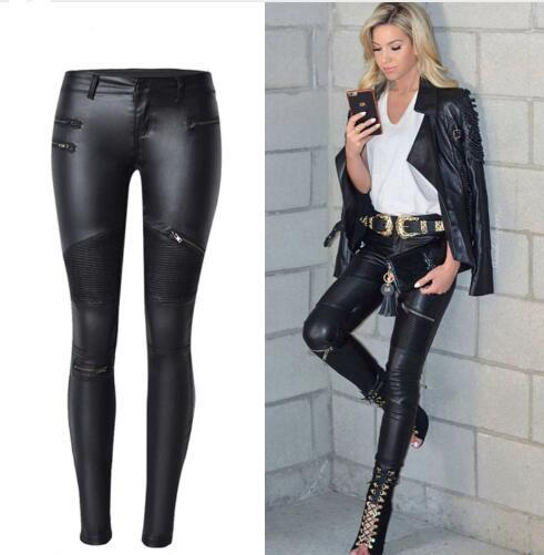 somethingoods Black Style Fashion Woman Skinny Leather Jeans Pleated Fake Zippers Details Pencil Pants