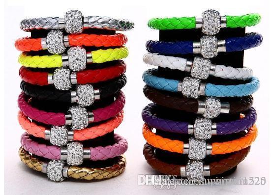 Mix 17colors PU Leather Bracelet CZ Disco Crystal Bracelet Fashion Magnetic Clasp Bracelet Wristband Jewelry