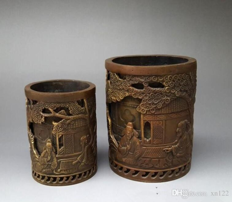 Antique Bronze Articles Decoration with Fulushou Hollow-out Double-layer Pen Cylinder