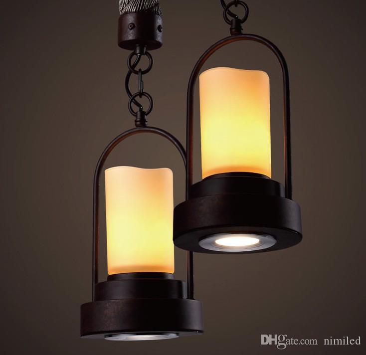 Lampada a sospensione a forma di candela industriale in stile country americano in stile americano Lampada a sospensione a sospensione a sospensione a sospensione a luce piatta E27 Loft Bar LLFA