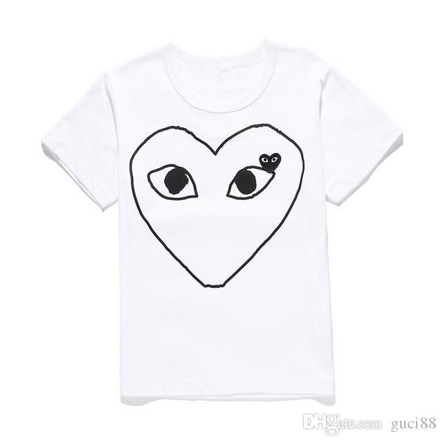 De haute qualité Mens Designer T-shirt En Coton Imprimé T-shirts Blanc T-shirt coeur rouge Femmes D'été Vêtements pour hommes