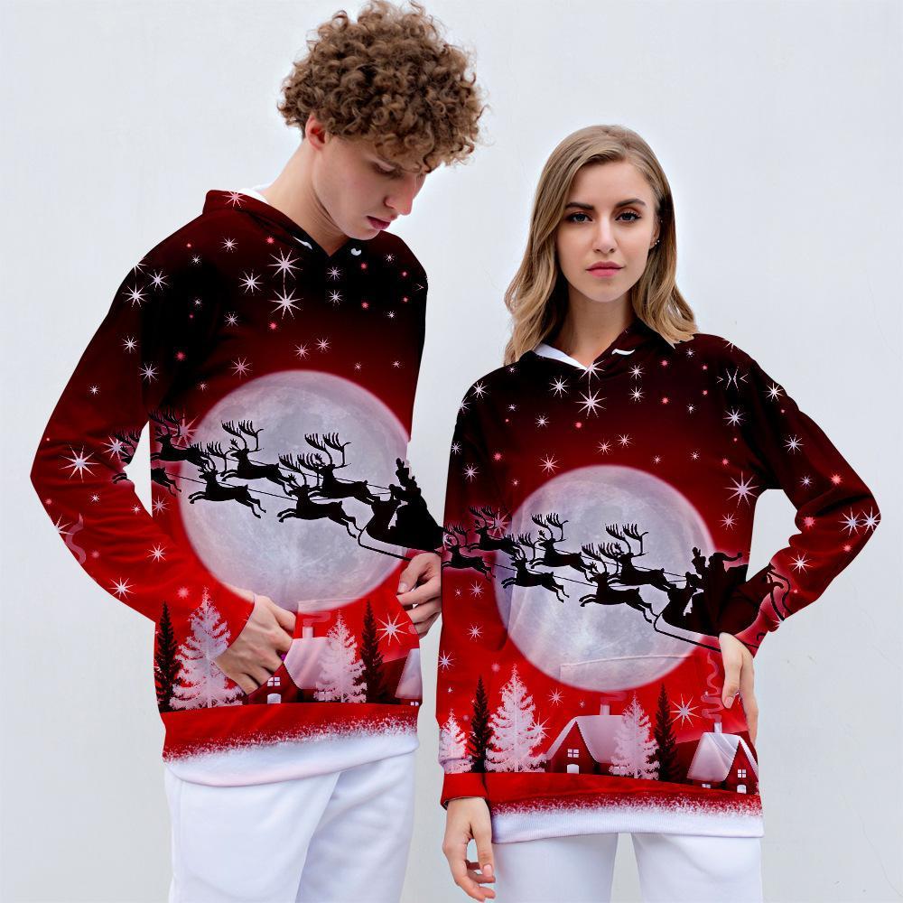 RICORIT Noël chandail à capuchon Impression 3D hommes et les femmes à manches longues Tops Couples Casual Pulls à capuche Y191214