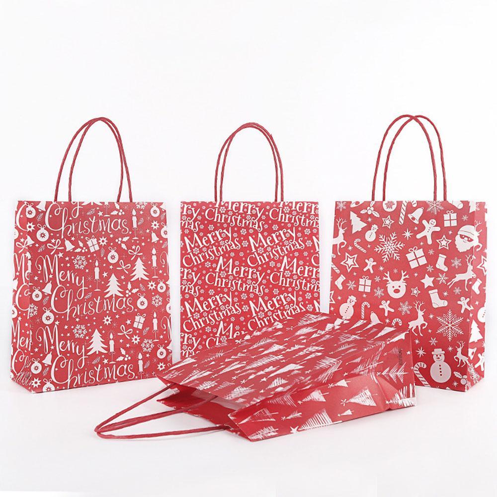 12 Pcs Party Supplies Christmas Gift Bags Santa Sacks Kraft Paper Bag Party Favors Box Wedding Candy Cookies Package Bag