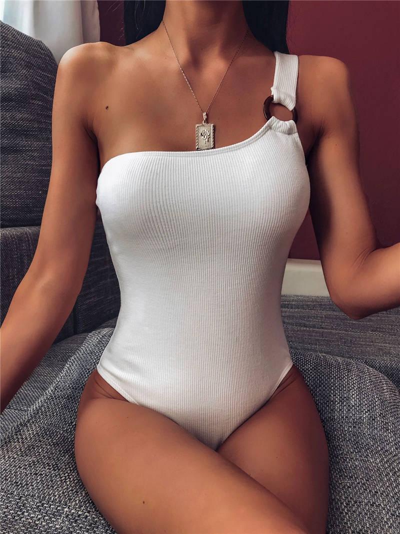 Женская мода One Piece Купальники одно плечо Твердая женщин Купание Топы Сексуальная Суки Одежда