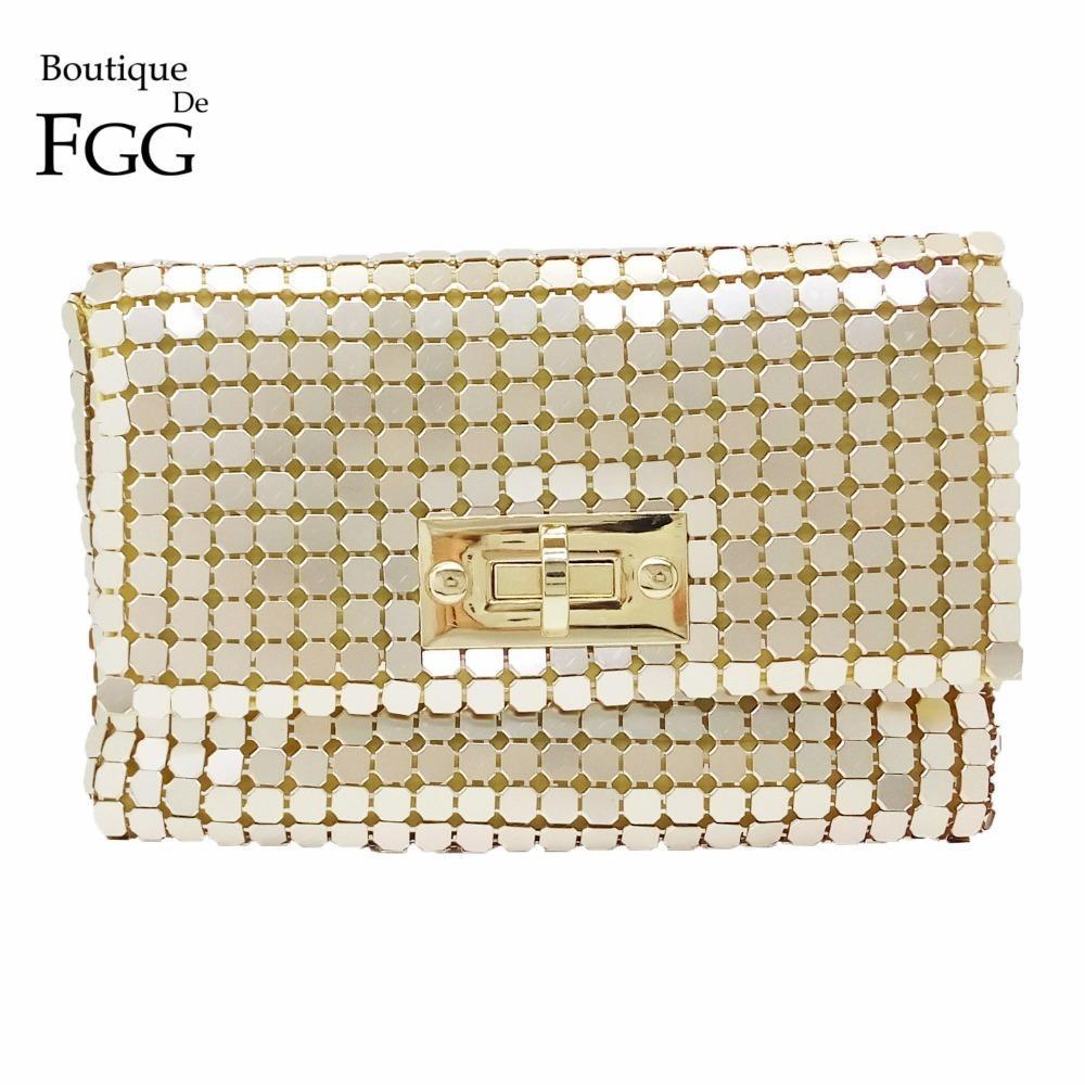 Boutique De Fgg Gold Aluminum Women Small Envelope Clutch Chain Shoulder Bags Ladies Fashion Evening Crossbody Handbag And Purse Y19061301
