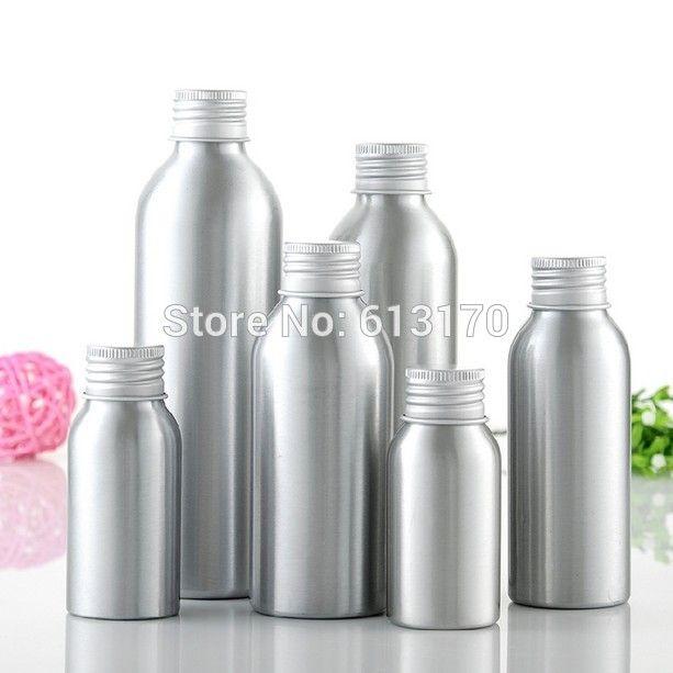 50 adet 40ml, 50ml, 100ml, 120ml, 150ml, 250ml Alüminyum Vidalı kapak Kozmetik Kapsayıcı Packaging için boş Makyaj losyon Şişeler Şişe