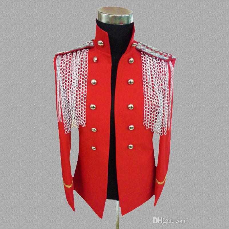 кисточка блейзер мужские костюмы дизайн куртка мужские сценические костюмы для певцов одежда танцевальная звезда стиль платье воротник черный красный