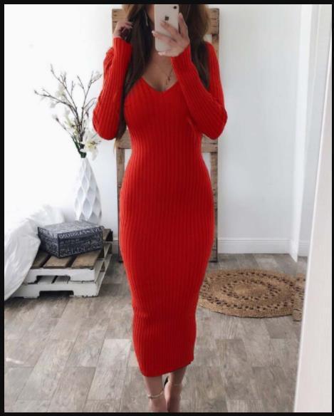 Kadınlar Seksi BODYCON Elbise Çift V Bahar Katı Renk Örme Kalem Elbise Uzun kollu Çizgili Elbise Giyim