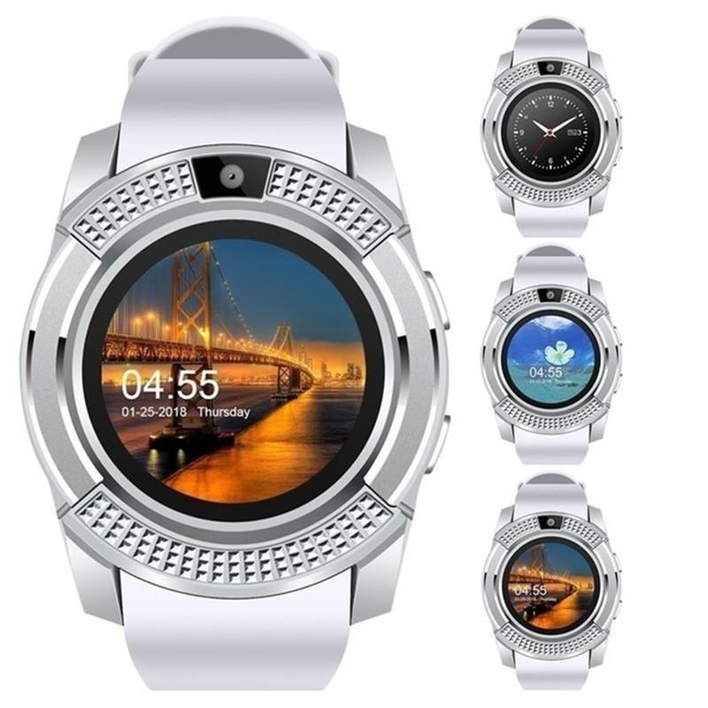 V8 GPS Smart Watch Bluetooth Touch Screen Smart Wristwatch with Camera SIM Card Slot Waterproof Smart Bracelet for IOS Android iPhone Watch