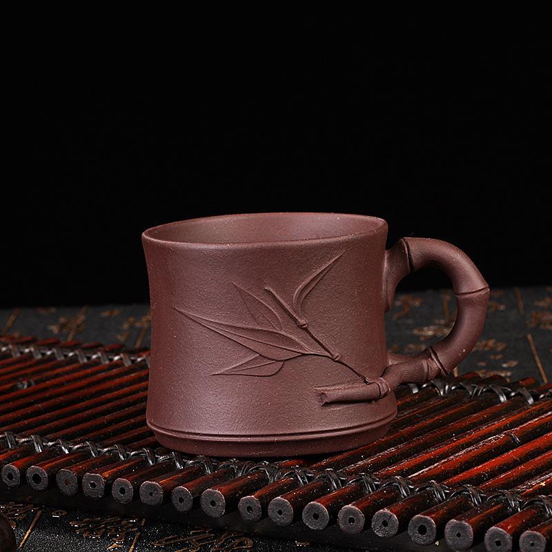 90ML Yixing Authentic Purple Clay Puer Tea Cups Handwork Embossed Leaves Pattern Raw Ore Zisha Handgrip Teacup Art Teaware Gifts