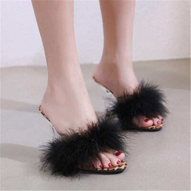 FeiYiTu Sapatos Mulher Sandálias de Verão Feather Slides De Salto Alto 7/10 cm Modelo Passarela de Vidro Transparente De Cristal Leopardo Chinelos