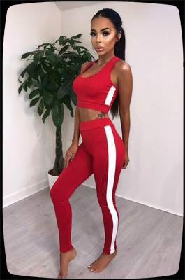 Yan Çizgili Sıkı sıska Uzun Pantolon 2pc Set ile 2020 Yaz Seksi Kadınlar Tracksuits Katı Kadınlar Moda Kısa Tank Mahsul