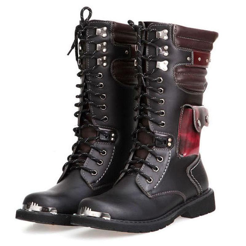 Мотоцикл сапоги Мужской обувь мужская Army Military Boots 2020 Кожа зима черный ковбой снег Металл Gothic Punk обувь мужчины 5 # 20 / 20D50