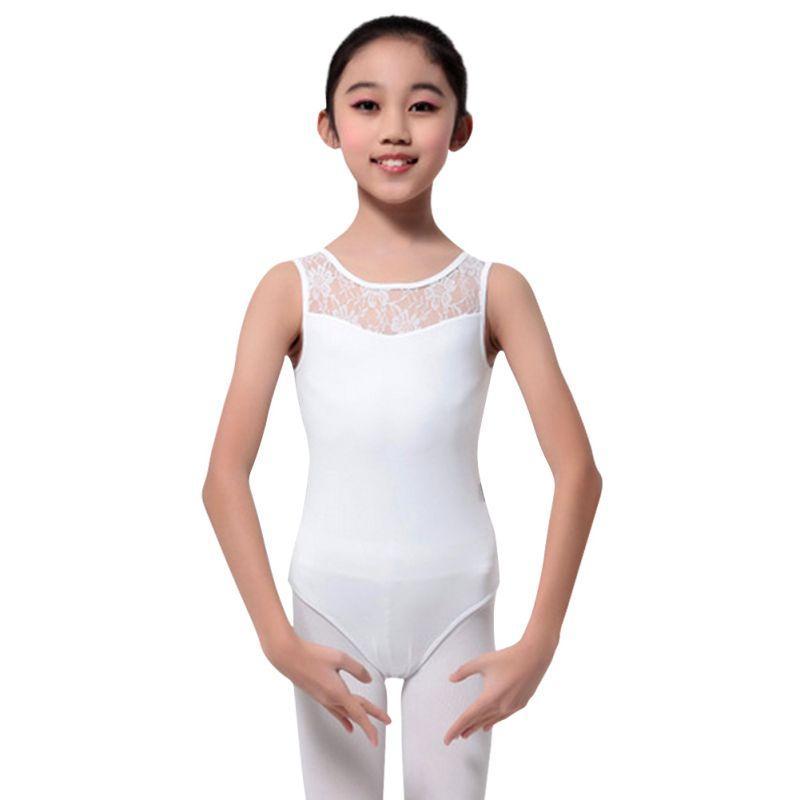 Neue Kinder Bodysuit Tanzkleidung Ballett-Mädchen-Tanz-Ballett-Ballettröckchen-Kleid-Kostüm-Sleeveless Spitze Gymnastik Trikot Skating Stretch