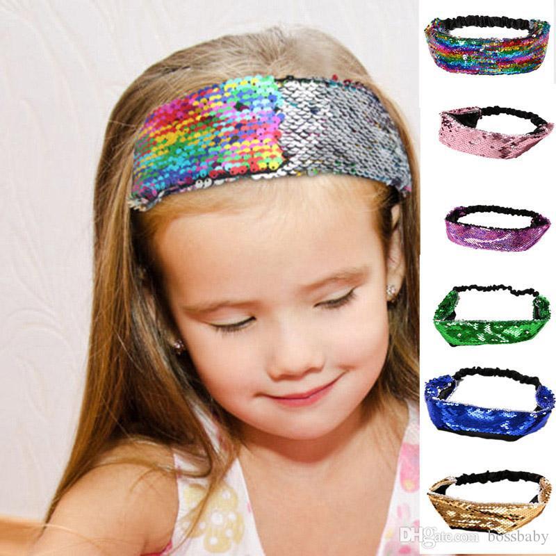 Baby Girls Sequins Headband 6 Designs Mermaid Sequins Hair Bands Kids Wide Elastic Headbands Kids Headwear Girls Hair Bands 060324