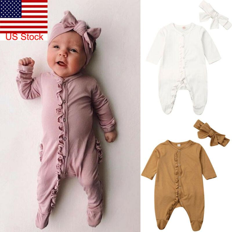 Focusnorm New Fashion 0-12M Newborn Infant Baby Boy Girl Cotton Romper Long Sleeve Solid Jumpsuit Clothes Headband 2PCS Outfit