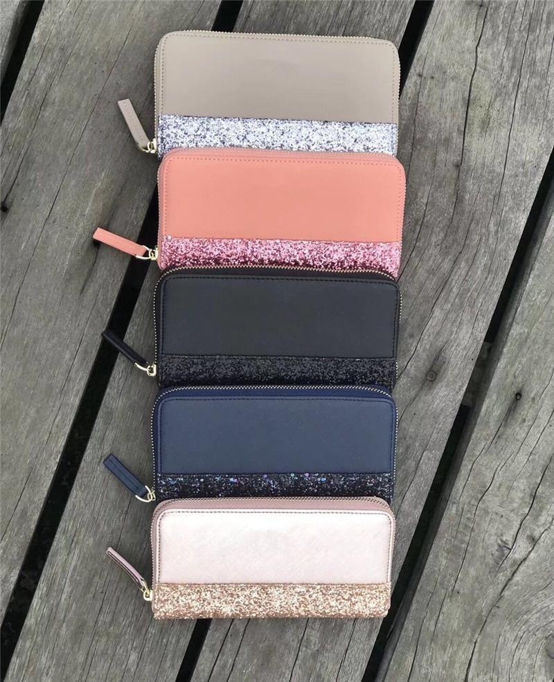 Mode Glitter Geldbörse PU Leder Reißverschluss Brieftaschen Frauen Mädchen Münze Geldbörse Bling Bling Handtasche Mode Design Kartenhalter Outdoor Brieftaschen