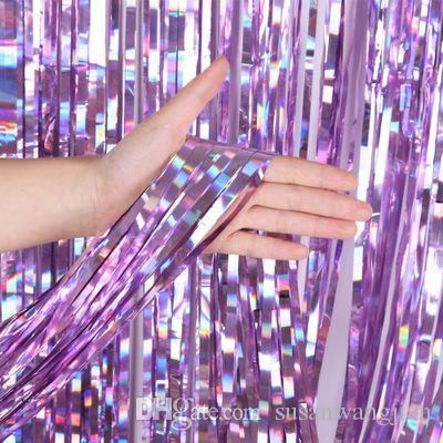 Venta al por mayor Multi-tamaño 1 * 2M fiesta de cumpleaños telones láser decoración cortinas paquetes proveedor boda graduación compromiso princesa etapa