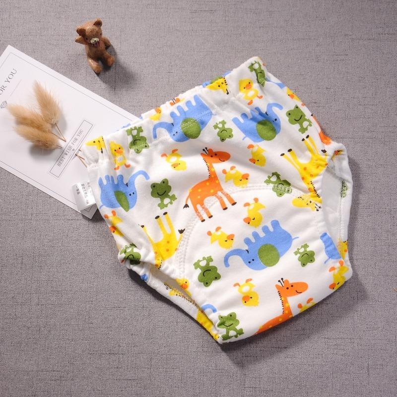 5pcs/lot Printed Waterproof Six Layers Gauze Soft Cotton Baby Potty Training Pants Reusable Infant Diaper Briefs Boy Girl Pantie