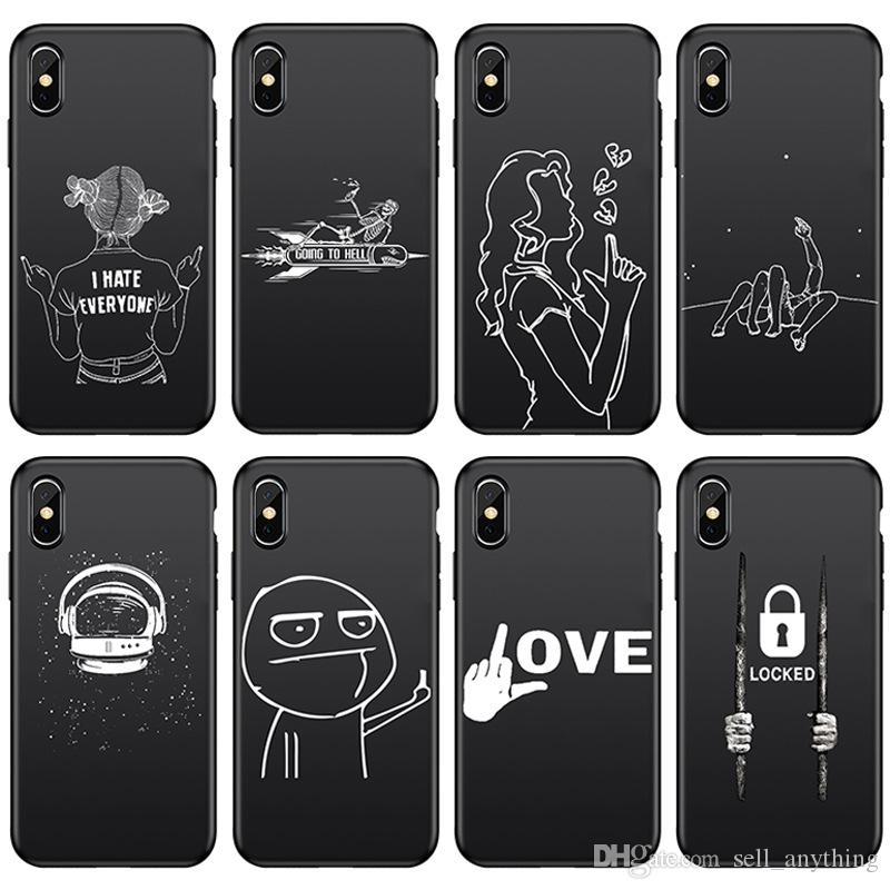 Para Iphone 11 Pro Xs Max Xr Telefone Casos linha preta Matte 6 7 8 x mais Casal casos isolados Soft Cell Telefone