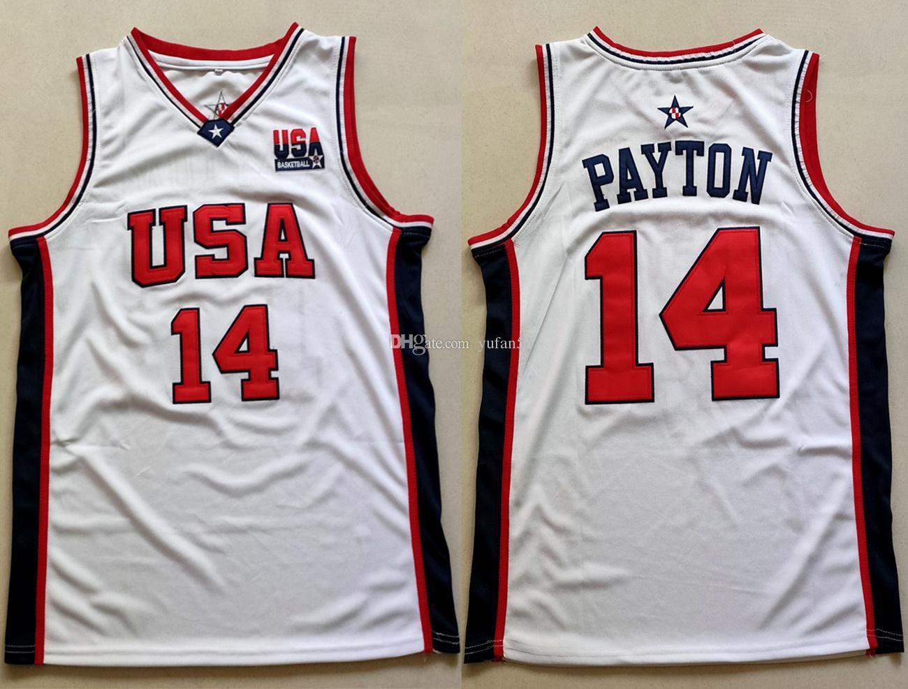 GARY PAYTON #14 Jersey TEAM USA JERSEY White  SEWN  NEW   ANY SIZE