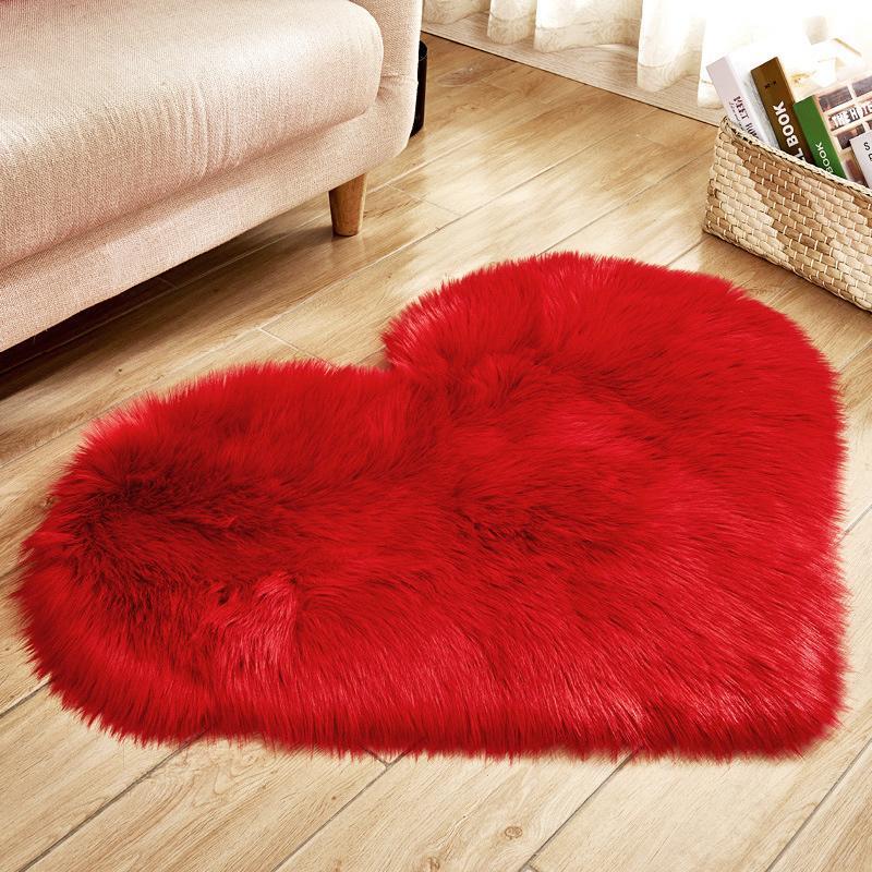 Lana di amore del cuore artificiale Tappeti di pelle di pecora lungo peloso Moquette Camera Soggiorno Faux Fur del pavimento di moquette morbido tappeto soffice coperta di zona