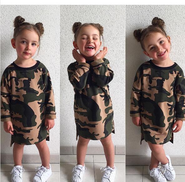 Baby Girls Camouflage Prinzessin Kleid Langarm Army Green Casual Sommer Kinder Kleidung Kinder Kleider