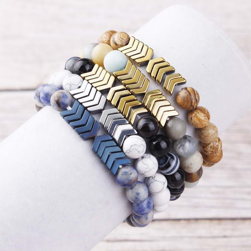 B2312 ZWPON Semi Precious Ball Beaded Chevron Stretch Bracelets for Women Fashion Elastic Natural Stone Beads Arrow Bracelets