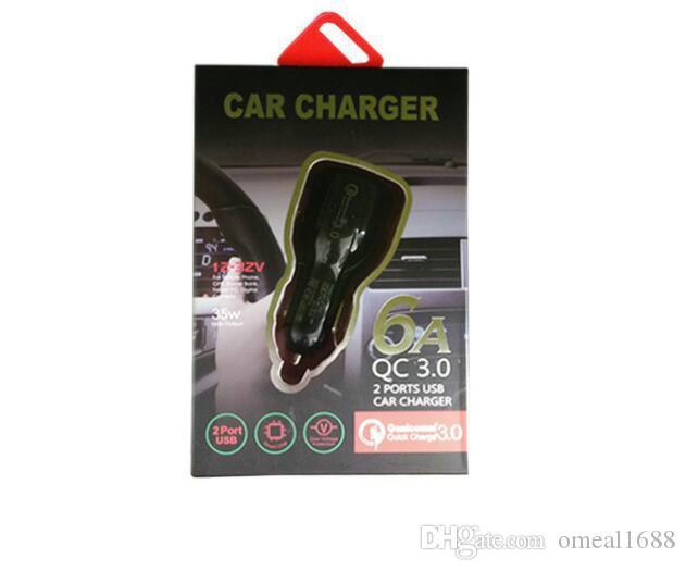 الهاتف الخليوي شاحن سيارة ثنائي USB QC3.0 سريع شاحن محول تهمة الذكية 12V الإضافية 3.1a للحصول على الروبوت سامسونغ الذكية شحن سريعة مع التعبئة