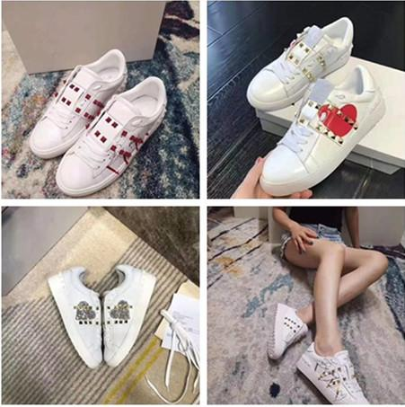NWT Designer Pyramid Shape Rivet Bianco Graffiti Sneakers per uomo e donna Cansual Shoes Luxury Shoes Appartamenti Sneaker Big Size Molti stile Top in stile